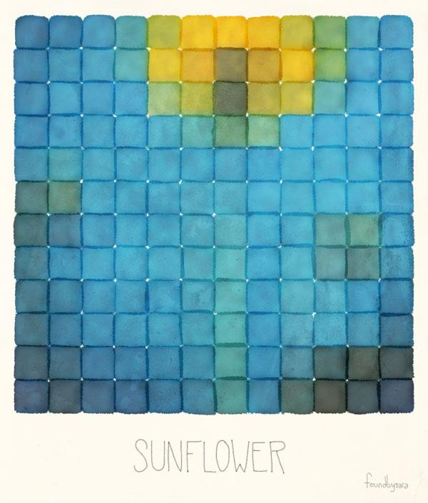 Polaroid Pixels I (Sunflower)