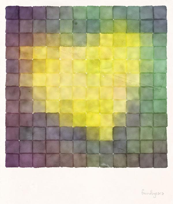 Polaroid Pixels V (Leaf Heart)