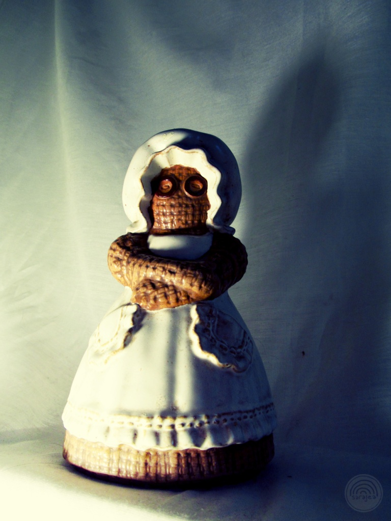 Menacing Ceramic/Burlap Horror Doll