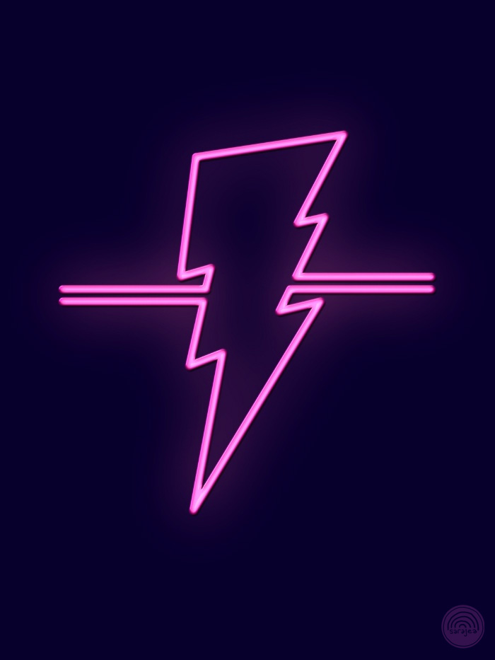 neon sign: a hot pink lighning bolt, glowing against a dark blue background